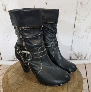 """Fossil Leather Slouchy Boots 3"""" Heel"""